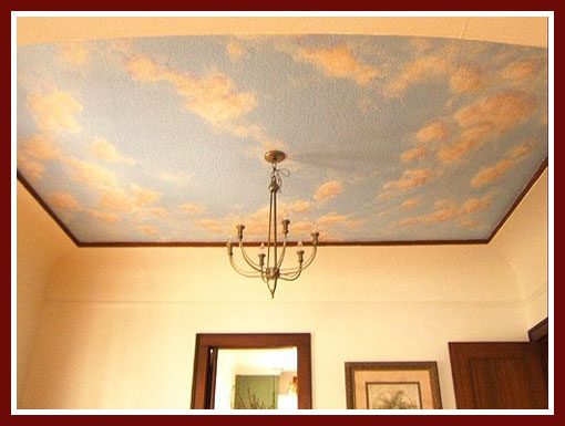 Cartoon slinger murals dinig room sky for Cloud mural ceiling