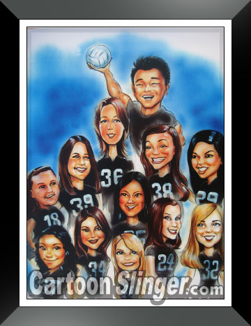 cartoon gift caricature for volleyball coach